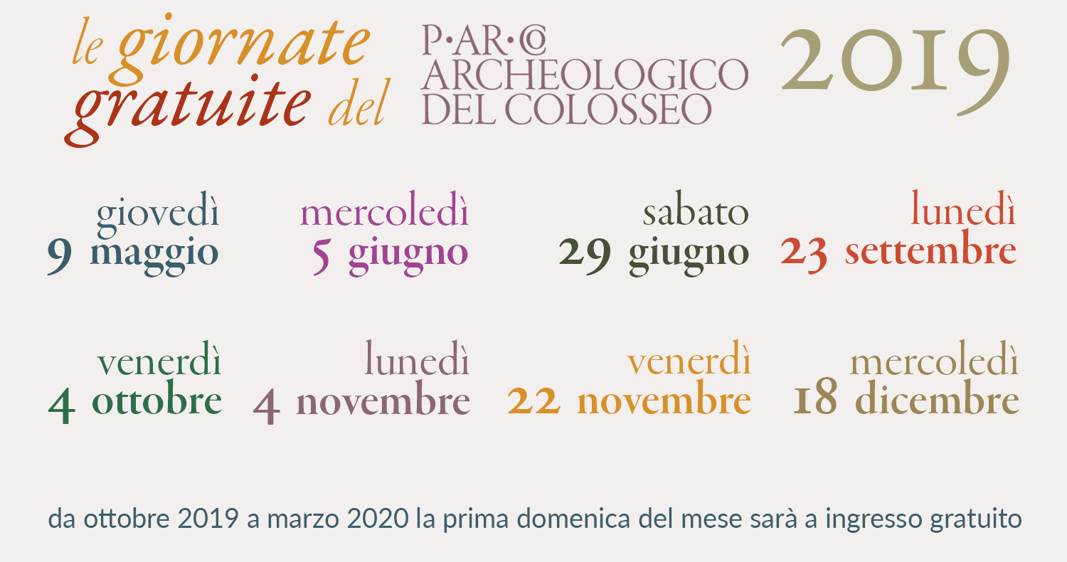 #iovadoalmuseo — The free entry days to the Parco archeologico del Colosseo