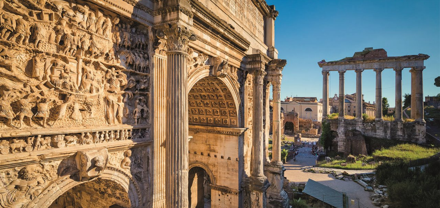 The Arch of Septimius Severus tells its story. Special maintenance and repair work underway